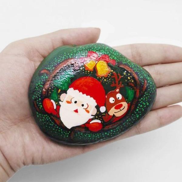 Χριστουγεννιάτικη ζωγραφική σε πέτρες και βότσαλα63
