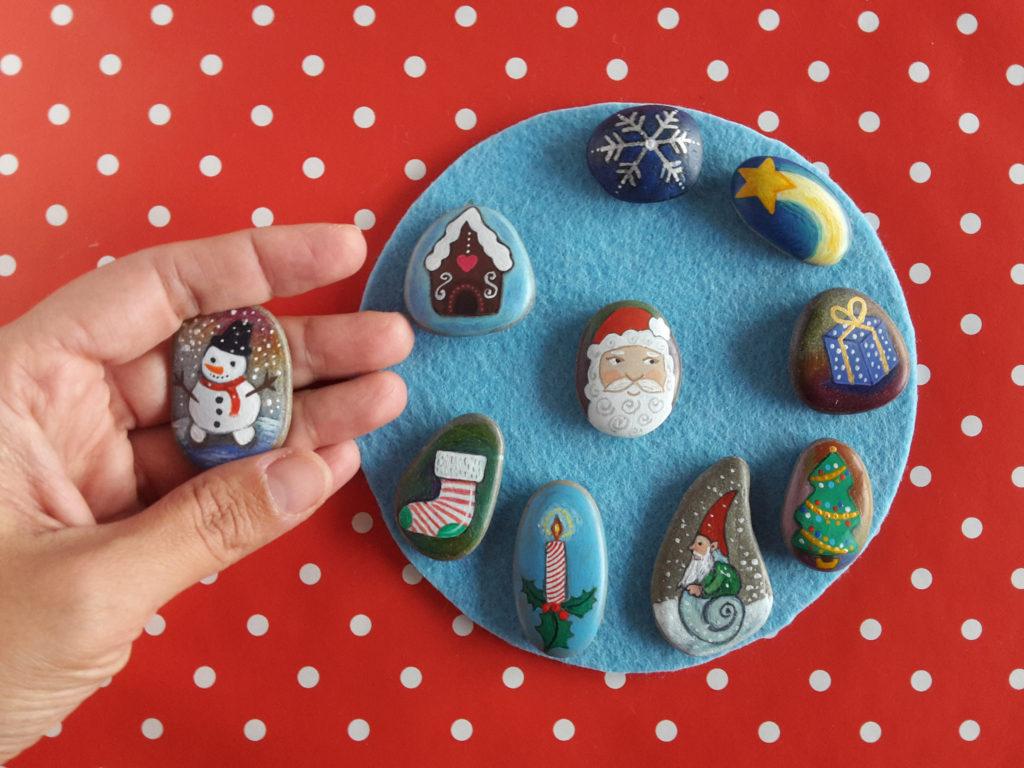 Χριστουγεννιάτικη ζωγραφική σε πέτρες και βότσαλα7