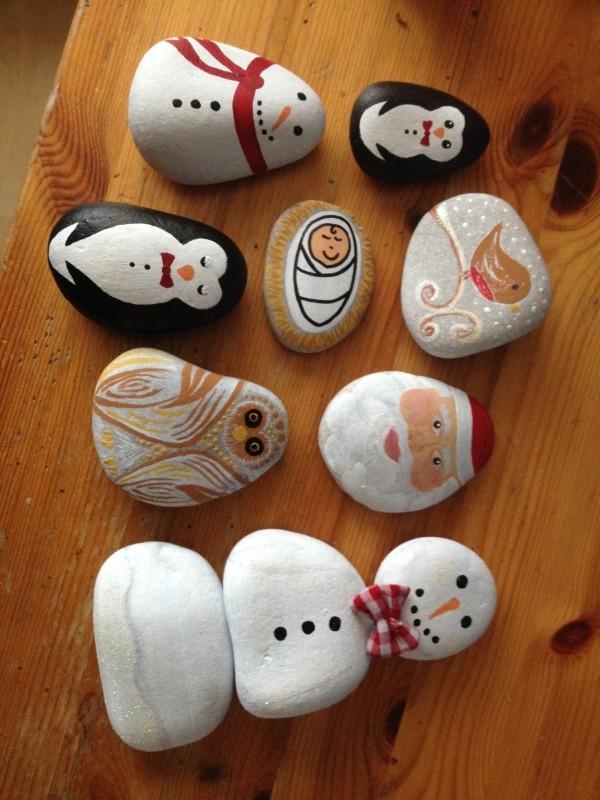 Χριστουγεννιάτικη ζωγραφική σε πέτρες και βότσαλα72