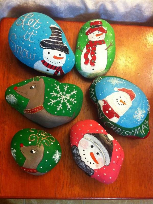Χριστουγεννιάτικη ζωγραφική σε πέτρες και βότσαλα74