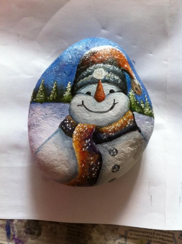 Χριστουγεννιάτικη ζωγραφική σε πέτρες και βότσαλα96