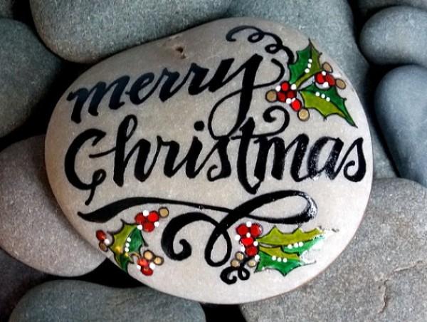 Χριστουγεννιάτικη ζωγραφική σε πέτρες και βότσαλα97
