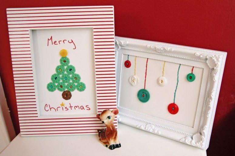 DIY κατασκευές από κουμπιά για τα Χριστούγεννα6