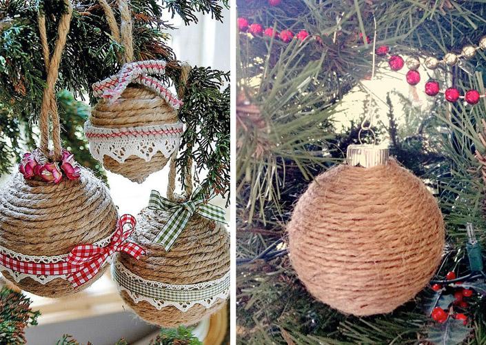 Χριστουγεννιάτικα στολίδια από σπάγκο10