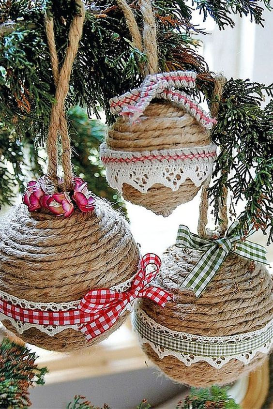 Χριστουγεννιάτικα στολίδια από σπάγκο15