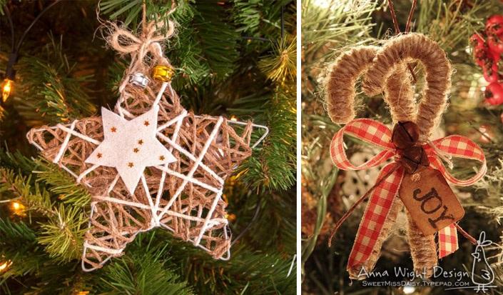 Χριστουγεννιάτικα στολίδια από σπάγκο5