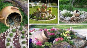 διακόσμηση στον κήπο με πέτρες και πυθάρια