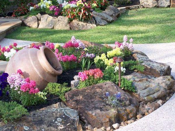 διακόσμηση στον κήπο με πέτρες και πυθάρια1