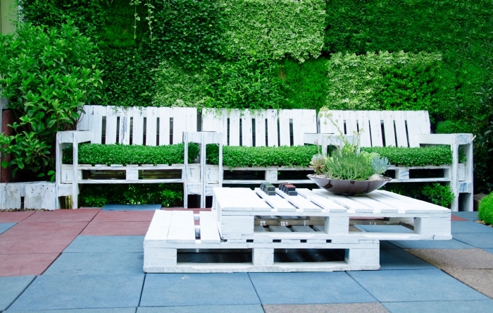Shot of furniture made of pallets. Innovative and environmentally friendly way to decorate the yard