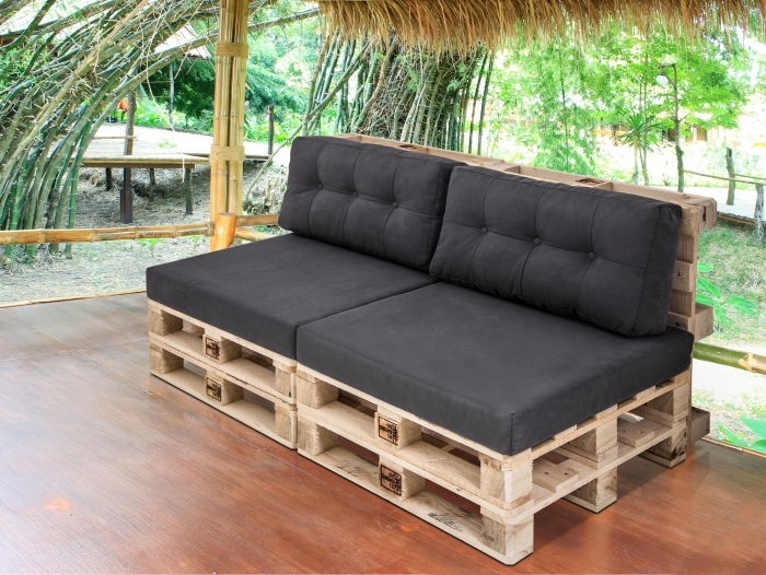 a wooden sofa with upholstery fabrics seat