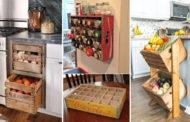 Χωριάτικο στυλ αποθήκευσης κουζίνας με ξύλινα κιβώτια