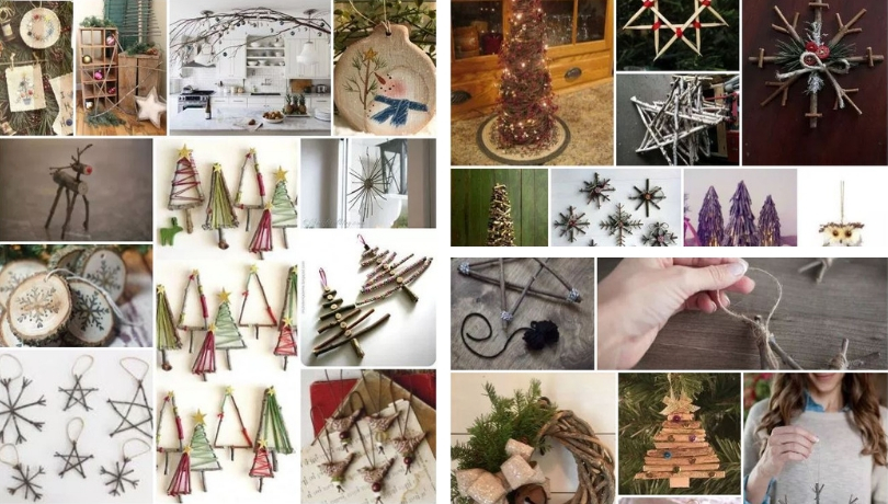 DIY Rustic Χριστουγεννιάτικα Στολίδια από κλαδάκια