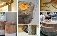 Πρωτότυπα, απλά ξύλινα DIY έπιπλα από κορμούς δέντρου νέες ιδέες