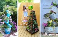 DIY ιδέες με στήλες λουλουδιών για μια πρωτότυπη διακόσμηση στον κήπο σας