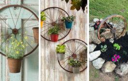 Διακοσμούμε τον κήπο με DIY στολίδια από παλιούς τροχούς ποδηλάτων