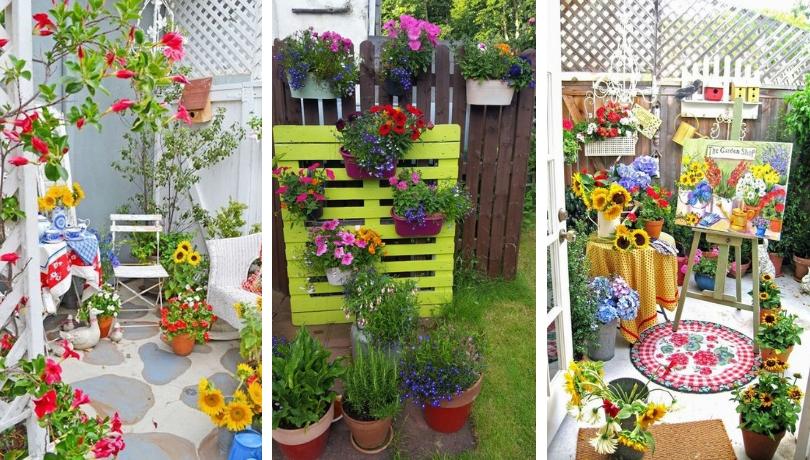 DIY Γωνιακές ρυθμίσεις στον κήπο σας - Χρώματα σε συνδυασμό με πλούσια φαντασία