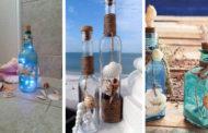 DIY Διακοσμήσεις με καλοκαιρινά μοτίβα που μπορείτε να φτιάξετε από παλιά γυάλινα μπουκάλια