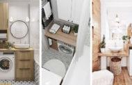 Σύγχρονες ιδέες δωματίου πλυντηρίου στο μπάνιο για μικρούς χώρους
