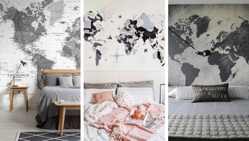 Χάρτης στο υπνοδωμάτιό: Πώς να διακοσμήσετε υπνοδωμάτια ενηλίκων με χάρτες